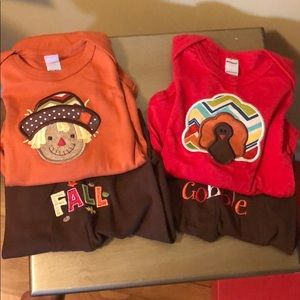 New Fall 6-12 Months Onesie & Pants Sets